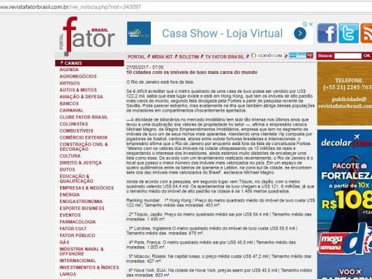 MAgno no portal fator Brasil, 10 cidades